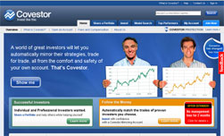 Screenshot of Covestor's website